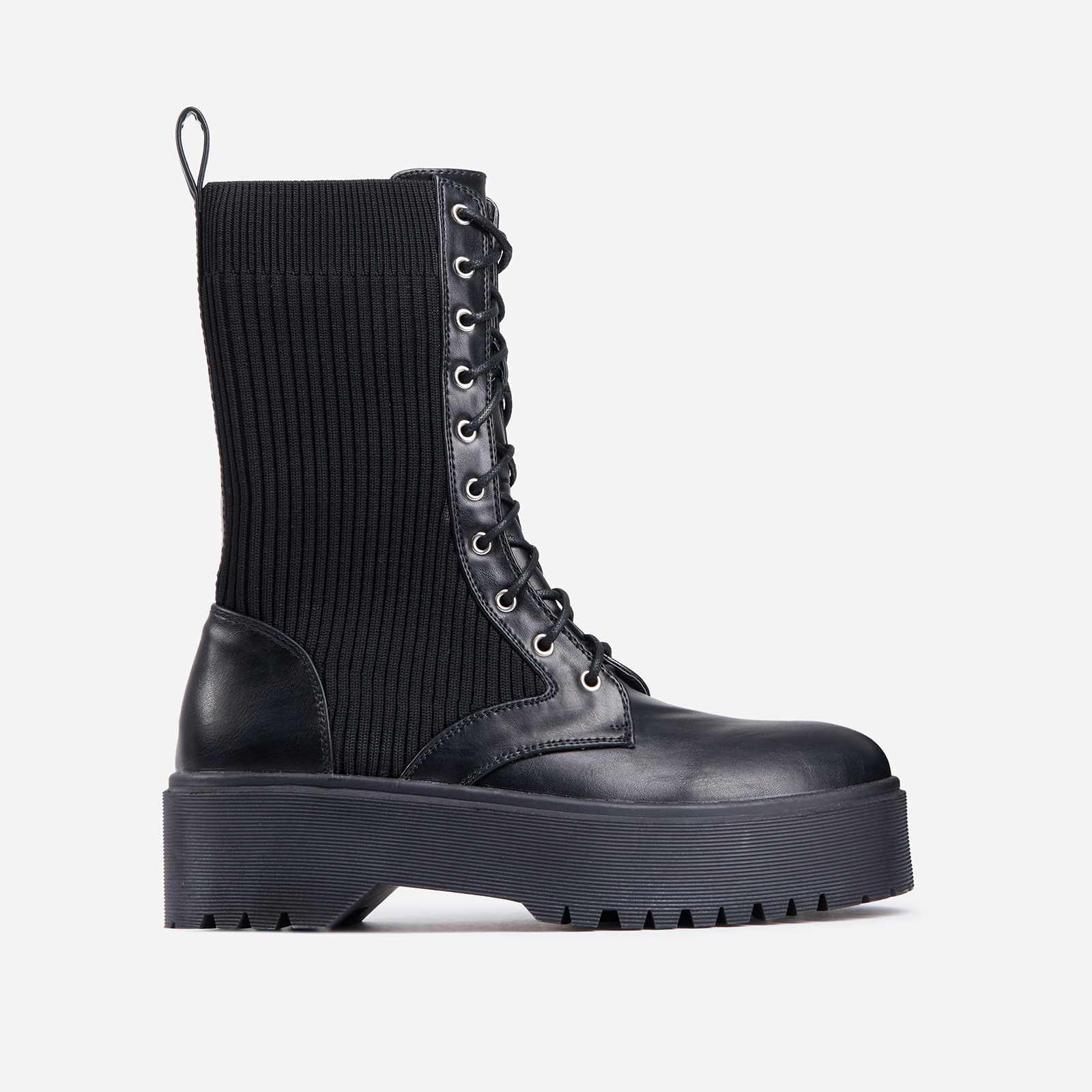 Soulmate Ribbed Lace Up Ankle Biker Boot In Black Faux Leather