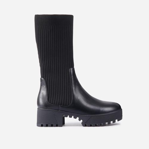 Hint Ribbed Mid Calf Chunky Sole Ankle Bike Boot In Black Faux Leather