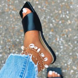 Covergirl Square Toe Flat Slider Sandal In Black Faux Leather