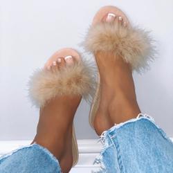 Bestfriend Faux Feather Detail Flat Slider Sandal In Nude Faux Suede