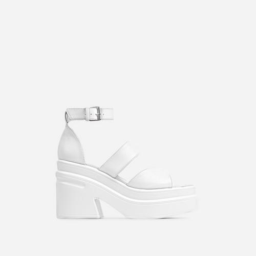 Nerve Triple Strap Peep Toe Chunky Sole Platform Block Heel In White Faux Leather