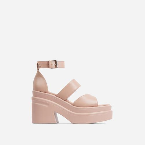 Nerve Triple Strap Peep Toe Chunky Sole Platform Block Heel In Nude Faux Leather