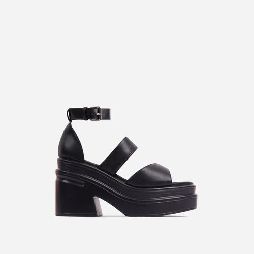 Nerve Triple Strap Peep Toe Chunky Sole Platform Block Heel In Black Faux Leather