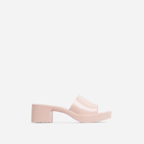 Rhea Square Peep Toe Platform Block Heel Mule In Nude Rubber