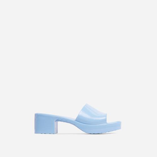 Rhea Square Peep Toe Platform Block Heel Mule In Blue Rubber