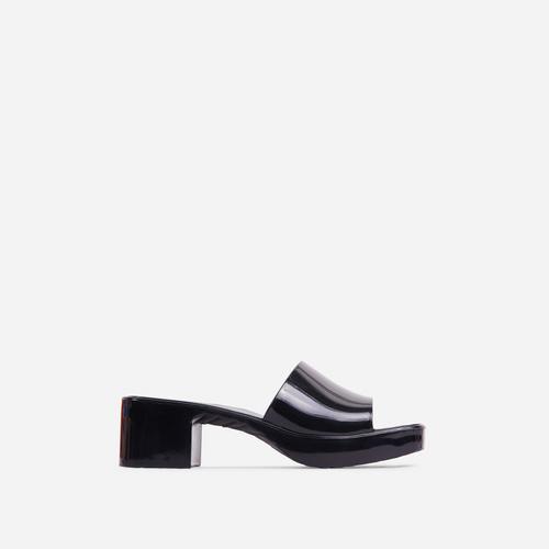 Rhea Square Peep Toe Platform Block Heel Mule In Black Rubber
