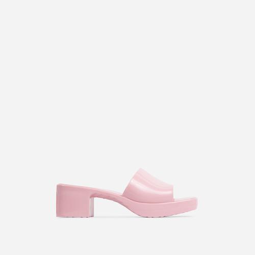 Rhea Square Peep Toe Platform Block Heel Mule In Pink Rubber