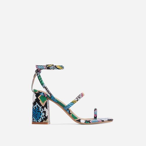 Positions Toe Loop Double Strap Square Toe Flared Block Heel In Multi Snake Print Faux Leather