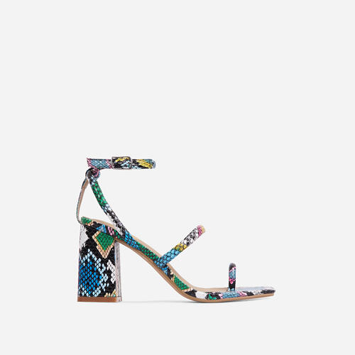 Positions Wide Fit Toe Loop Double Strap Square Toe Flared Block Heel In Multi Snake Print Faux Leather