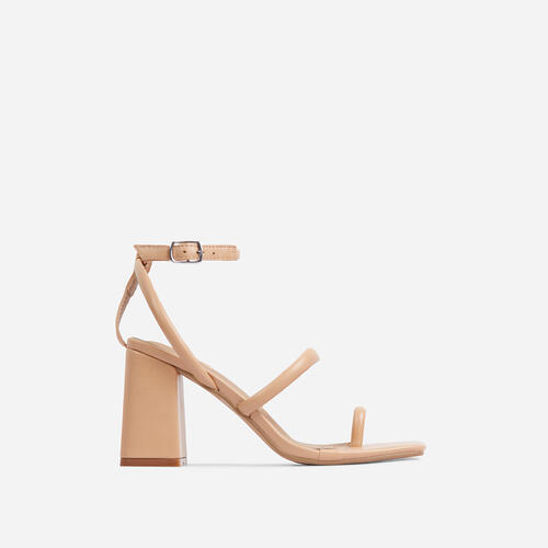Positions Wide Fit Toe Loop Double Strap Square Toe Flared Block Heel In Beige Faux Leather