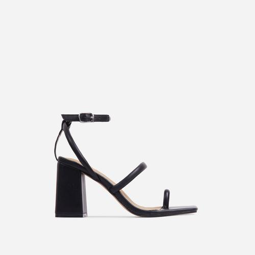 Positions Toe Loop Double Strap Square Toe Flared Block Heel In Black Faux Leather