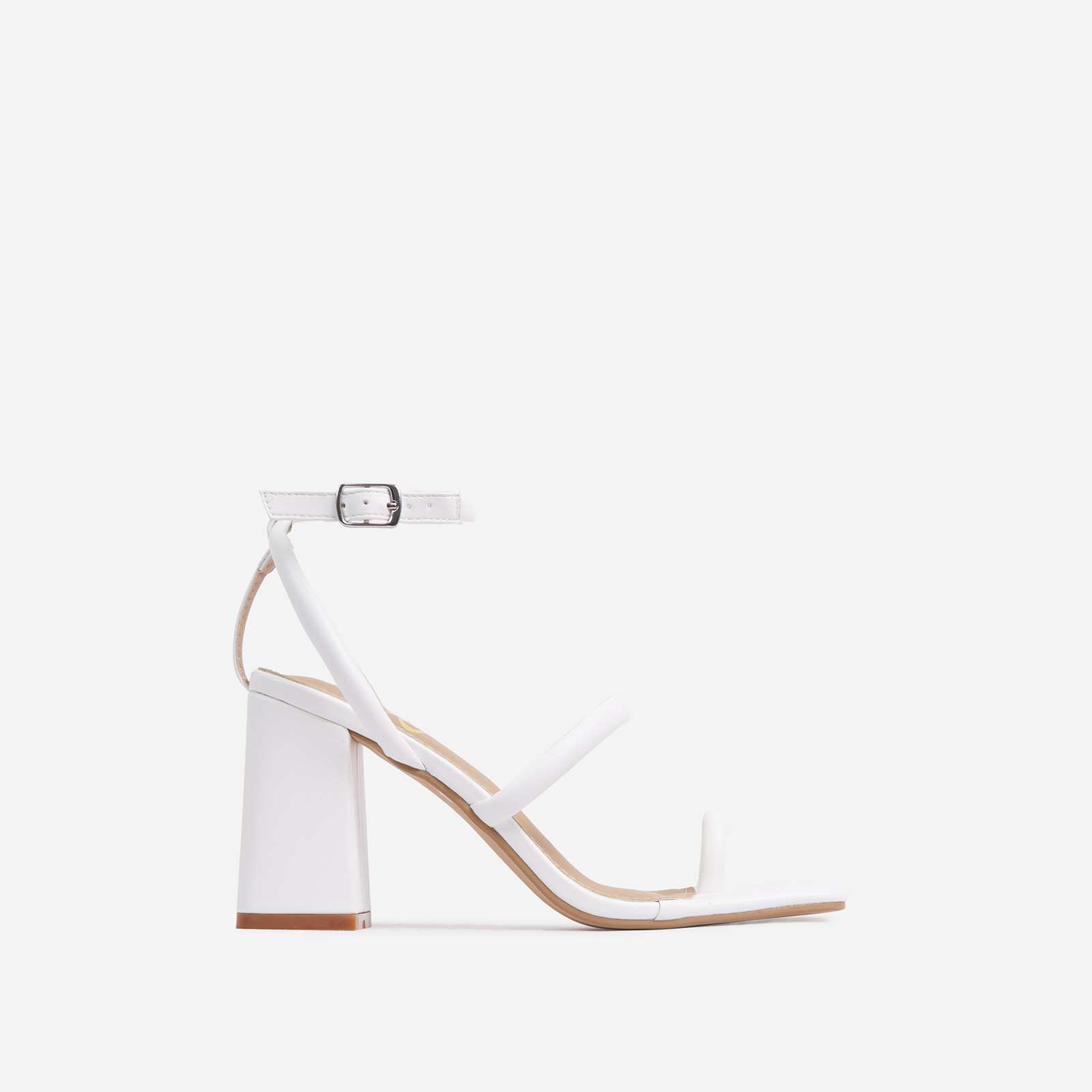 Positions Wide Fit Toe Loop Double Strap Square Toe Flared Block Heel In White Faux Leather