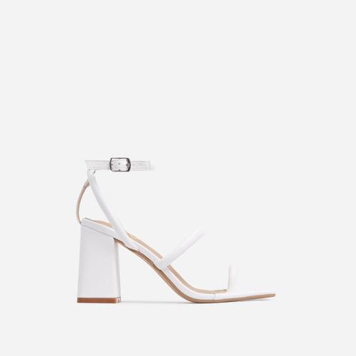 Positions Toe Loop Double Strap Square Toe Flared Block Heel In White Faux Leather