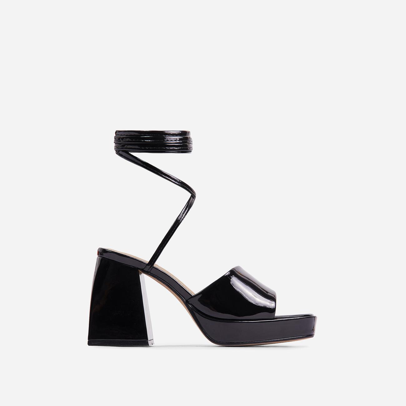 Dreamer Lace Up Square Toe Platform Flared Block Heel In Black Patent Image 1