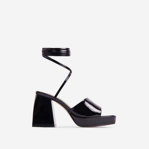 Dreamer Lace Up Square Toe Platform Flared Block Heel In Black Patent