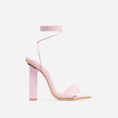 Adria Lace Up Square Toe Block Heel In Pink Faux Suede