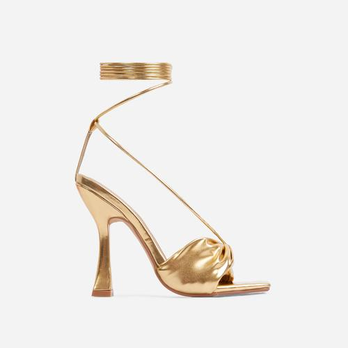 Stay-Sassy Twisted Detail Lace Up Square Peep Toe Curved Heel In Gold Faux Leather