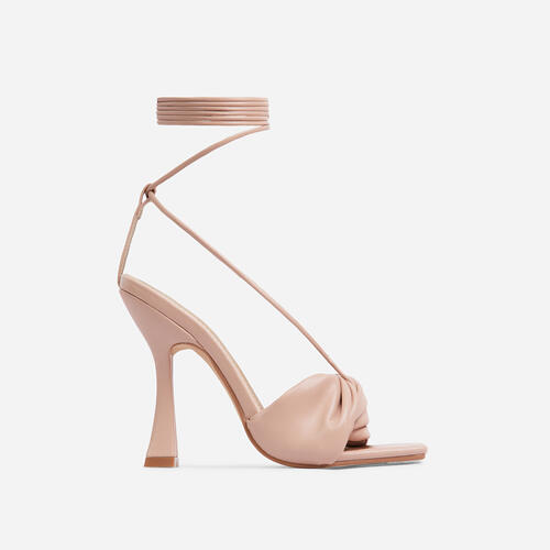 Stay-Sassy Twisted Detail Lace Up Square Peep Toe Curved Heel In Nude Faux Leather
