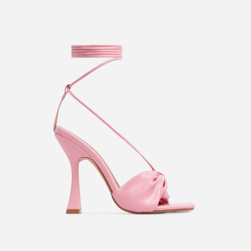 Stay-Sassy Twisted Detail Lace Up Square Peep Toe Curved Heel In Pink Faux Leather