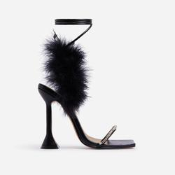 Bliss Diamante Detail Fluffy Square Toe Lace Up Pyramid Heel In Black Faux Leather