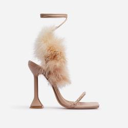 Bliss Diamante Detail Fluffy Square Toe Lace Up Pyramid Heel In Nude Faux Leather