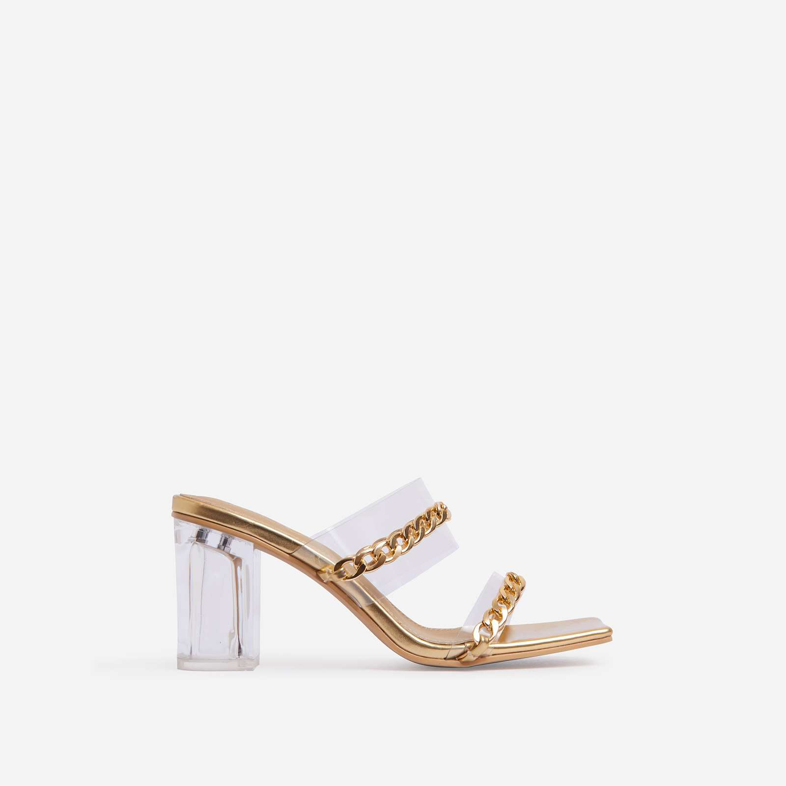 Jetsetter Chain Detail Square Peep Toe Clear Perspex Midi Block Heel Mule In Gold Faux Leather