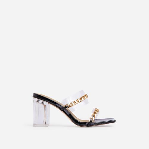 Jetsetter Chain Detail Square Peep Toe Clear Perspex Midi Block Heel Mule In Black Patent