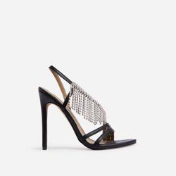 Swoon Diamante Fringe Detail Heel In Black Faux Leather