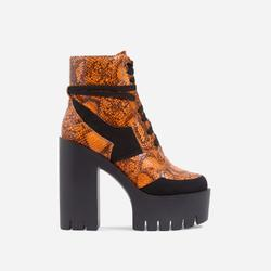 Penni Platform Lace Up Cleated Sole Ankle Biker Boot In Orange Snake Print Faux Leather