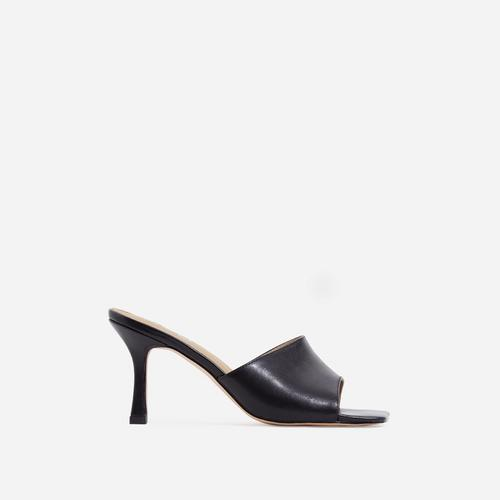Hilton Square Peep Toe Kitten Heel Mule In Black Faux Leather