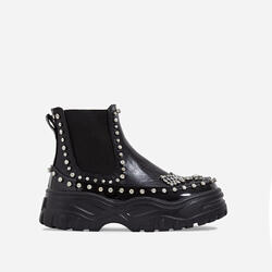 Leto Studded Diamante Chunky Sole Ankle Biker Boot In Black Faux Leather