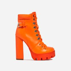 Veera Platform Lace Up Ankle Biker Boot In Neon Orange Faux Leather