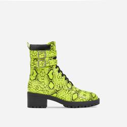 Jovi Lace Up Ankle Biker Boot In Yellow Snake Print Faux Leather
