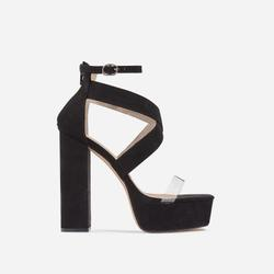 Nirvana Platform Square Toe Clear Perspex Heel In Black Faux Suede