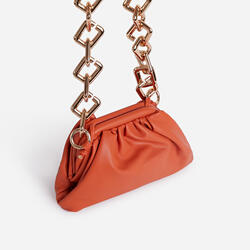 Tia Chunky Chain Pouch Bag in Orange Faux Leather