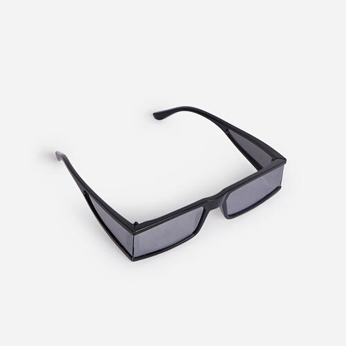 Flat Brow Rectangular Sunglasses In Silver