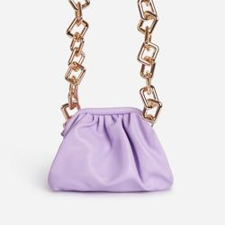 Tia Chunky Chain Pouch Bag in Purple Faux Leather