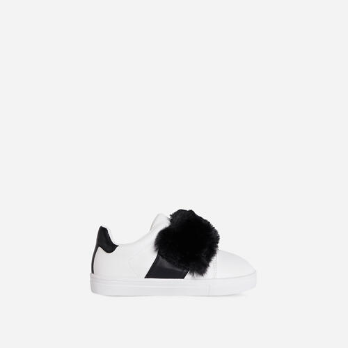 Plush-Baby Kid's Black Fluffy Stripe Trainer In White Faux Leather
