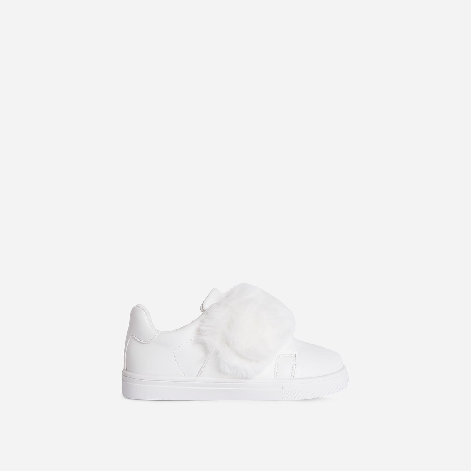 Plush-Baby Kid's Fluffy Stripe Trainer In White Faux Leather Kid's, White