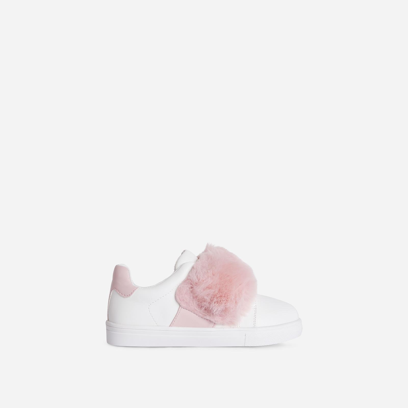Plush-Baby Kid's Pink Fluffy Stripe Trainer In White Faux Leather Kid's, White
