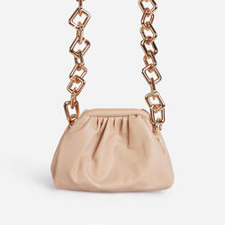 Tia Chunky Chain Pouch Bag in Nude Faux Leather