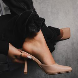 Rue Square Toe Heel Mule In Nude Faux Leather