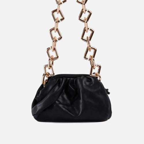 Tia Chunky Chain Pouch Bag In Black Faux Leather