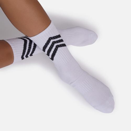 Diagonal Stripe Detail Sport Sock In White