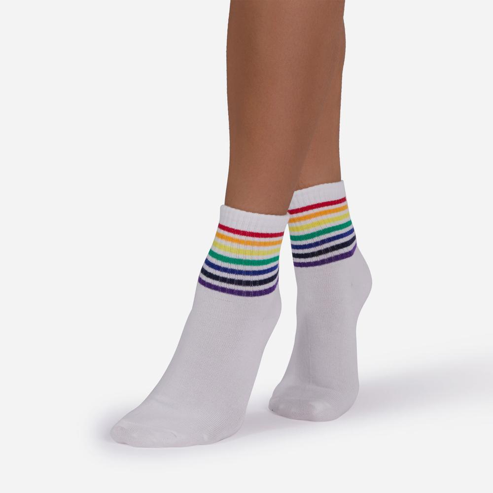 Rainbow Stripe Sport Socks in White