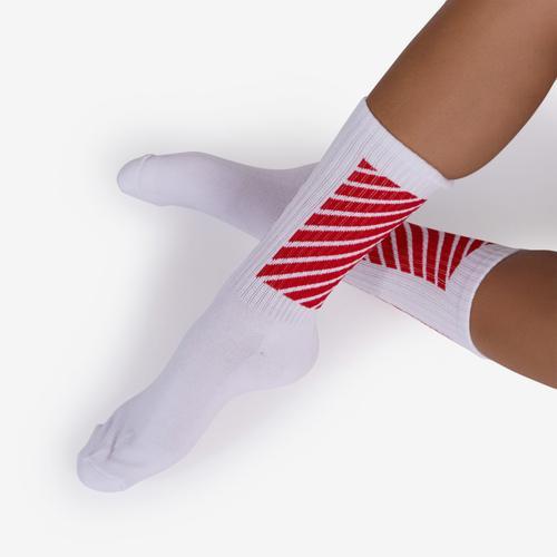 Red Stripe Detail Sport Sock In White