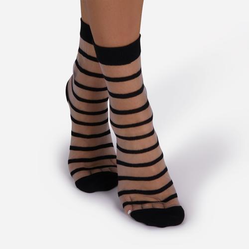 Striped Mesh Sock In Black