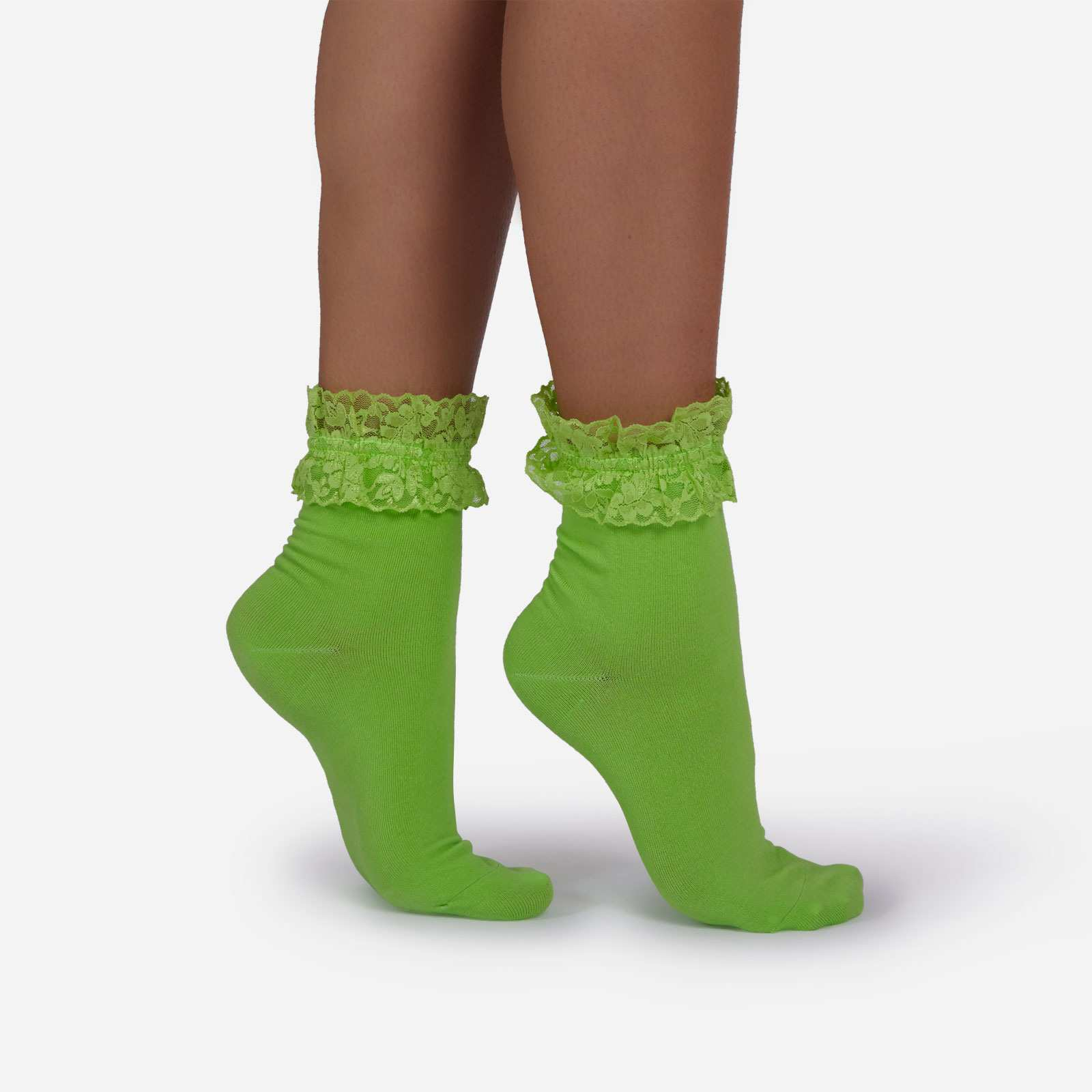 Frill Detail Ankle Sock In Bright Green