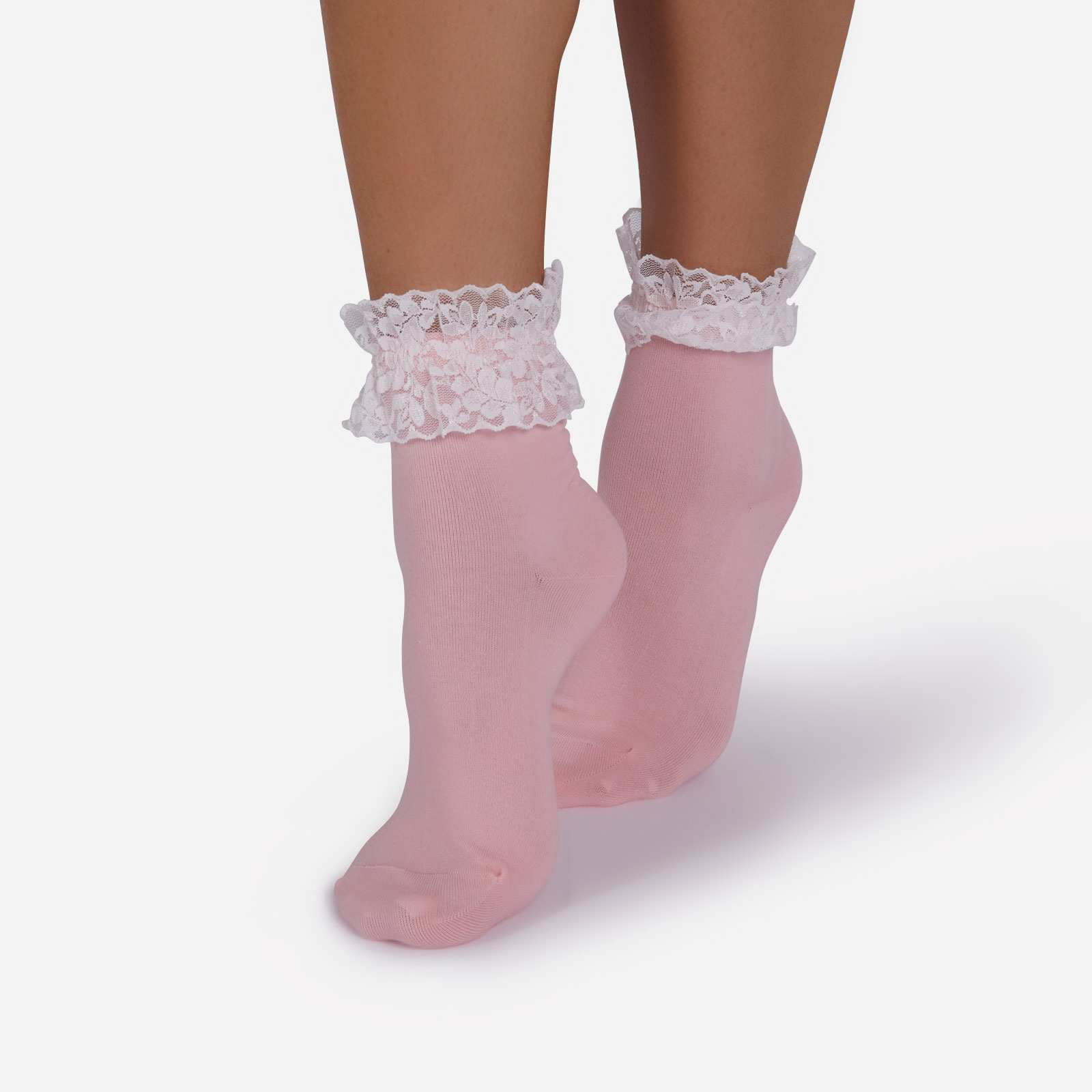 Frill Detail Ankle Sock In Pink