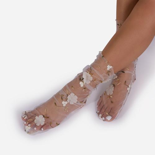 Flower Detail Mesh Sock In White